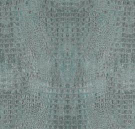 Curious kroko behang turquoise metallic 17954