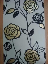 behang zwart goud wit modern bloemen behang 29