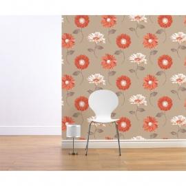 oranje bloemen  behang 111506