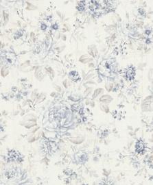 blauw bloemen behang 516012