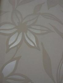 modern bloemen behang parelmoer beige 89
