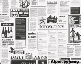 8560-12 Decora natur 5 behang krantenartikel wit zwart