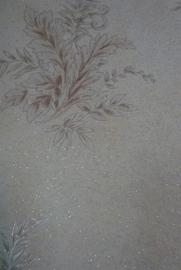 bruin wit glitter behang 50
