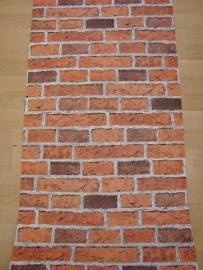 steen steenstrips rood bruin grijs behang