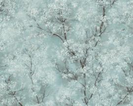 Bloemen behang blauw groen 37420-3