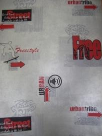 stoer jongens behang grijs rood urban streetlife grafiti 114
