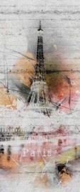 2-1315 Komar Fotobehang Paris eifeltoren grijs oranje behang