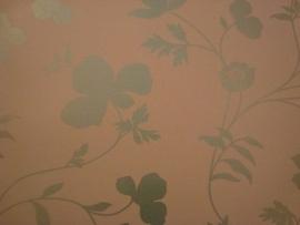 opruiming groen glim bloemen behang 25