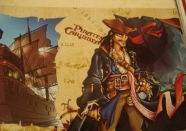 bruin zwart rood stoer piraten behangrand 61