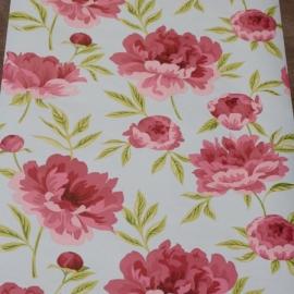 Engels romantische bloemen licht blauw roze groen vlies cx34