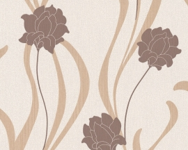 as creation mila 938671 beige bruin creme bloemen behang