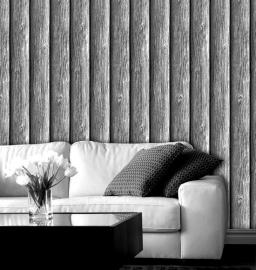 sloophout hout 3d grijs behang x55