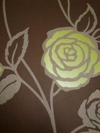 bruin behang bloemen bruin lime groen vlies 62