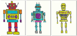 Arthouse Opera Fun set van 3 canvas doeken Retro Robots 002847