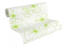 retro bloemen behang groen wit 955231 95523-1