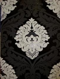 barok behang vlies zwart  wit 5543-14
