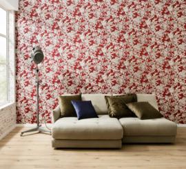 Bloemen behang rood 34077-3