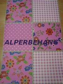 roze patchwork noordwand behang 439