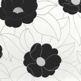 Marburg vliesbehang zwart bloemen behang  54524