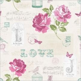 Muriva Sonnet Teal Floral 133501 bloemen behang vogels