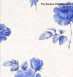 BN The Gardens of Amsterdam 46170 off-white beige blauw bloemen behang
