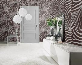 bruin afrika zebraprint patchwork dieren print vlies behang 08