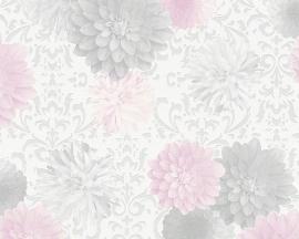 bloemen vlies behang grijs rose 95219-1