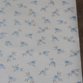 Engelse roosjes behang beige licht blauw vlies xx9