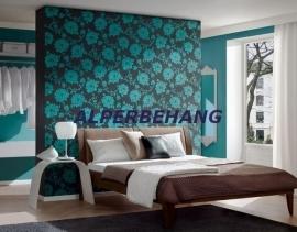 zwart blauw bloemen vlies 3d behang 116