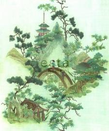 158114 photowallXL chinoiserie groen bomen chinees brug hut behang