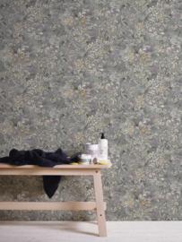Bloemen behang grijs 34077-4