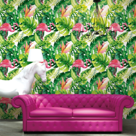 tropical behang flamingo as21303