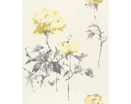 Geel bloemen behang 801545