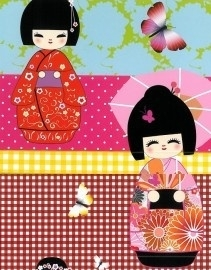 Rasch Kids Club 233902 Wandpaneel Geisha roze rood geel blauw