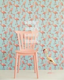 Eijffinger Script behang 347502 Flamingo blauw roze