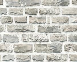 Steen behang grijs taupe wit creme voelbaar relief 36140-2