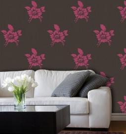 bloemen vlies behang rose bruin x49