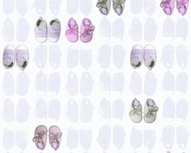 roze baby schoentjes behang 35862-1