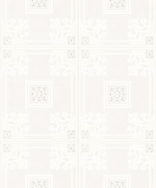 Vinyl behang  dessin wit zilver glitter 70272