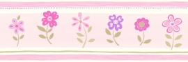 Esta Giggle 177302 behangrand roze paars groen bloemen behangrand