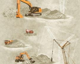 Bouwwerkers kraanwagens bouwmachines behang stoere jongens 35870-1