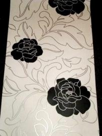 zwart wit bloemen behang met zilver takken x186