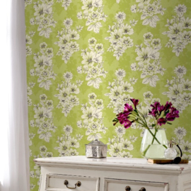 Groen bloemen behang 209518