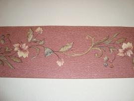 bordeauxe groen modern bloemen behangrand