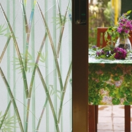 statische raamfolie wit groen riet motief bamboe xx12