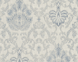 Blauw glitter behang 33903-4