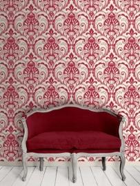 rood barok vinyl behang met glitter x27