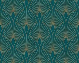 vliesbehang barok blauw goud groen 37427-5