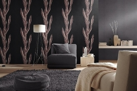 zwart grijs bloemen vlies behang 22