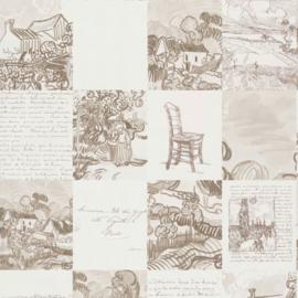 BN Van Gogh 2 behang Schetsen en Brieven 220030